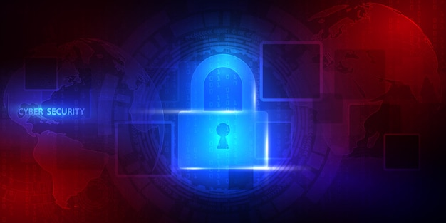 Abstracte technische achtergrond beschermt systeeminnovatie. cyber digitaal veiligheidsconcept.