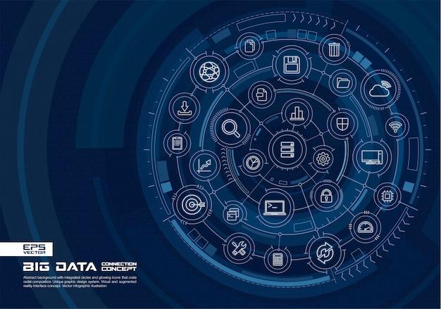 Abstracte technische achtergrond. digitaal verbindingssysteem met geïntegreerde cirkels, gloeiende dunne lijnpictogrammen. virtueel, augmented reality-interfaceconcept. toekomstige infographic illustratie