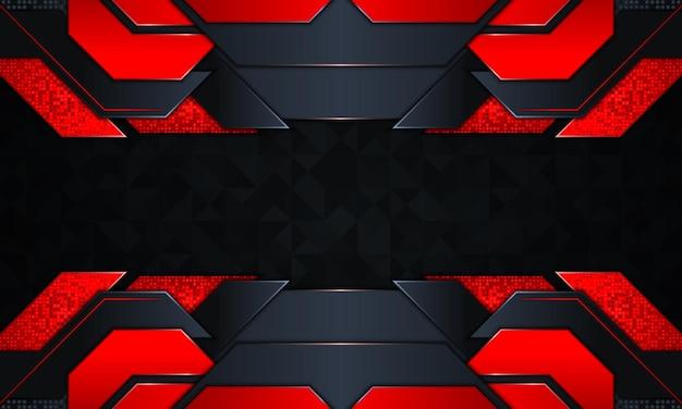 Abstracte technische achtergrond met donkere marine en rode gloed strepen.