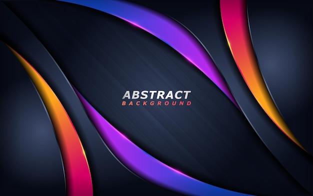 Abstracte technische achtergrond met oranje en paarse dynamische lijnvormen.