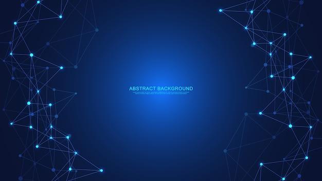 Abstracte technische achtergrond met verbindende punten en lijnen. digitale technologie van wereldwijde netwerkverbinding en communicatie.