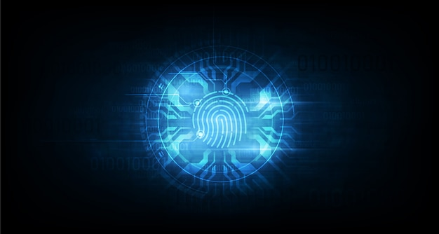 Abstracte technische achtergrond. systeemconcept veiligheid met vingerafdruk letter p teken