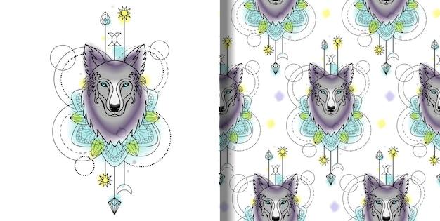 Abstracte techno aquarel print en naadloos patroon met wolf en geometrische elementen