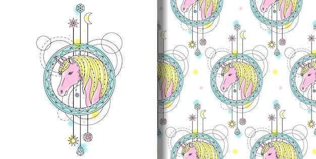 Abstracte techno aquarelprint en naadloos patroon met eenhoorn en geometrische elementen