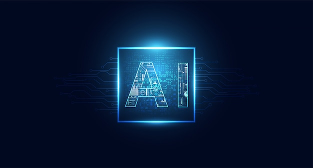 Abstracte technologie ai computing chipset op circuit