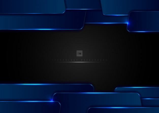 Abstracte technologie blauw geometrisch met lichteffect