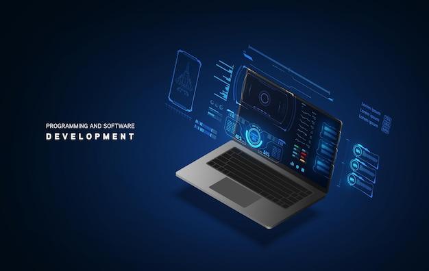 Abstracte technologie chip processor achtergrond printplaat en html code, 3d illustratie blauwe technologie achtergrond vector.