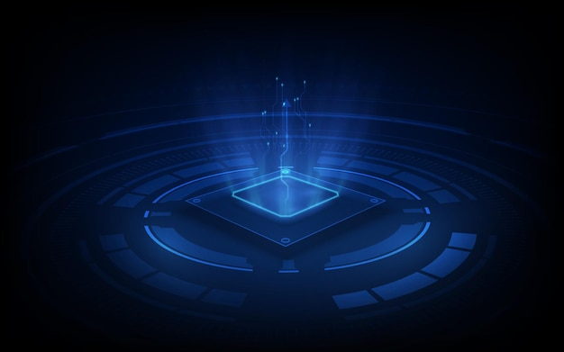 Abstracte technologie chip processor achtergrond printplaat en html-code, blauwe technische achtergrond.