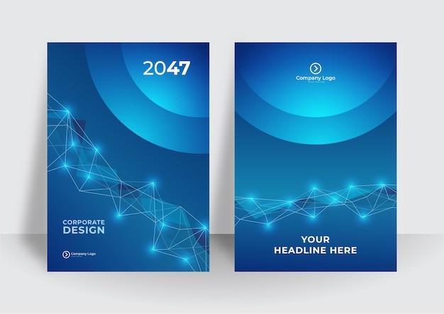 Abstracte technologie cover met printplaat. high-tech brochure ontwerpconcept. set van futuristische zakelijke lay-out. donkerblauwe moderne technische achtergrond
