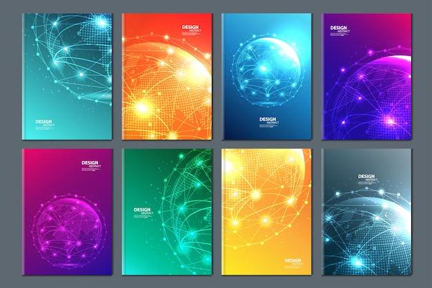 Abstracte technologie data visualisatie achtergrond netwerk futuristische draadframe kunstmatig