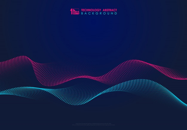 Abstracte technologie deeltjes golvende ontwerp 3d-beweging van geluid dynamische achtergrond.