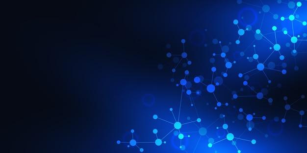 Abstracte technologie en innovatie achtergrond met moleculaire structuren en neuraal netwerk.