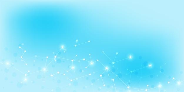 Abstracte technologie en innovatie achtergrond met moleculaire structuren en neuraal netwerk