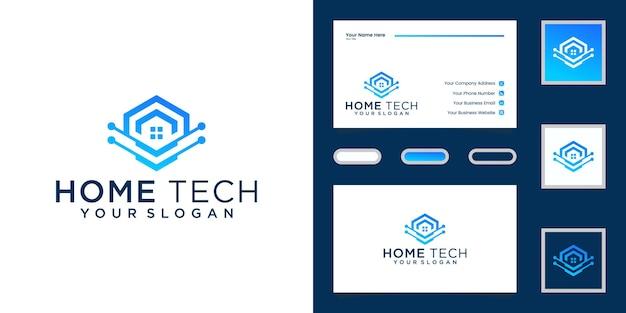 Abstracte technologie huis ontwerpsjablonen en visitekaartjes