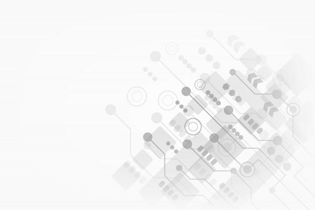 Abstracte technologie op grijze achtergrond voor uw zaken met futuristische kringsraad en geometrische veelhoekig