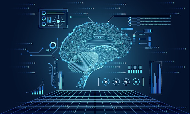 Abstracte technologie ui futuristische hersenen hud interface hologram elementen