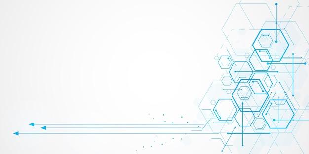 Abstracte technologie zeshoek achtergrond met lege ruimte