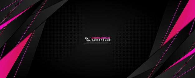 Abstracte technologie zwarte brede achtergrond met gradiënt roze magenta gradiënt tech ontwerp.