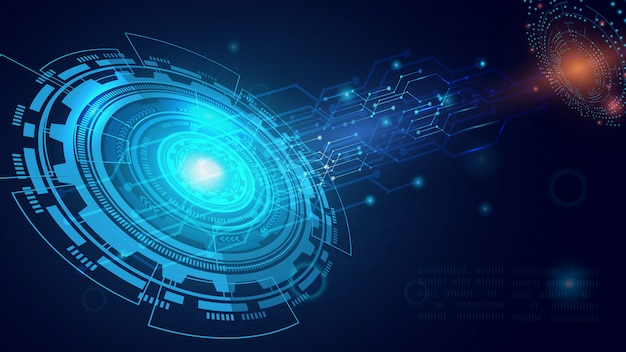 Abstracte technologieachtergrond, kringsraad op donkerblauwe kleur.