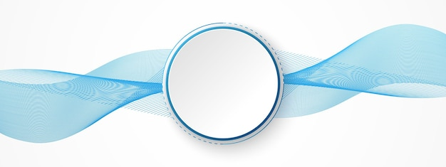 Abstracte technologieachtergrond, witte cirkelbanner op blauwe digitale cirkel en golvende lijn
