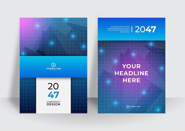 Abstracte technologiedekking met netwerk en beelden op achtergrond. high-tech brochure ontwerpconcept. set van futuristische zakelijke lay-out