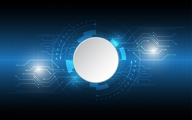 Abstracte technologische achtergrond cirkel lege ruimte met verschillende technologie-elementen