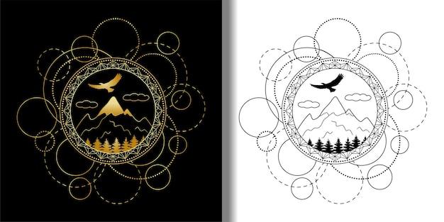 Abstracte technopatronen bezet met bergen, bomen en adelaar tattoo textiel en t-shirts print