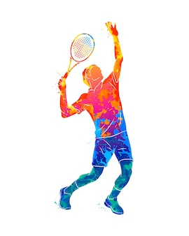 Abstracte tennisser met een racket van splash van aquarellen. illustratie van verven