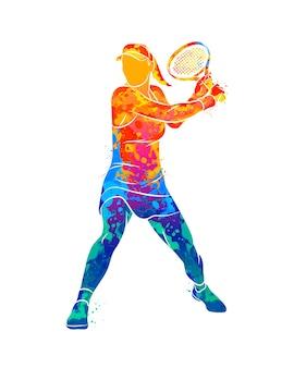 Abstracte tennisser met een racket van splash van aquarellen.