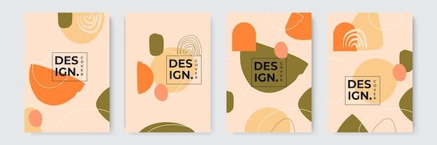 Abstracte terrazzo stijl achtergrond set met pastel kleur hand getekende geometrische vormen en lijnen en tropische bladeren silhouetten. werkt voor decormuurafdrukken of boekomslag of flyer- of menuontwerp.