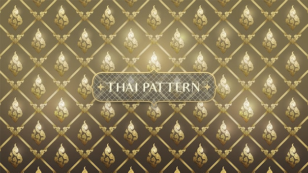Abstracte thaise traditionele kunst op gouden achtergrond