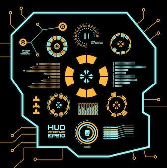 Abstracte toekomst, concept vector futuristische blauwe virtuele grafische gebruikersinterface hud. voor web, site, mobiele applicaties geïsoleerd op zwarte achtergrond, techno, online design, business, gui, ui.