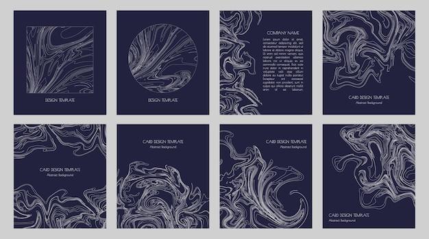 Abstracte topografische contouren en grafische dunne witte lijnen voor moderne minimalistische sjabloonontwerpen voor visitekaartjes, presentaties, uitnodigingen, folders en covers. set geometrische stijlvolle donkere achtergronden.