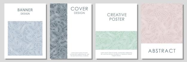 Abstracte topografische contouren. vector sjabloon voor visitekaartjes, uitnodigingen, cadeaubonnen, posters.