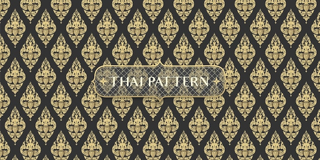 Abstracte traditionele hand getekend zwarte en gouden thaise hoek patroon achtergrond