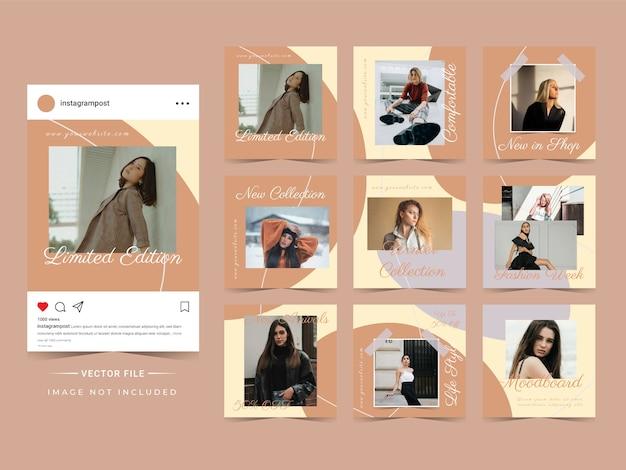 Abstracte trendy mode verkoop instagram postsjabloon