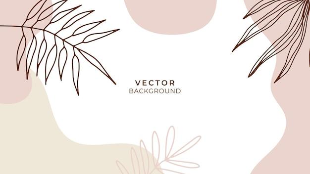 Abstracte trendy universele artistieke achtergrondsjablonen met bloemen, bladeren, organisch, met de hand getekend en lijnen. goed voor dekking, uitnodiging, banner, plakkaat, brochure, poster, kaart, flyer en andere