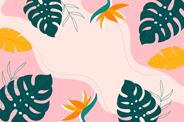 Abstracte tropische achtergrond met groene monsterabladeren, strelitzia en bananenbladeren