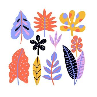 Abstracte tropische bladeren collectie