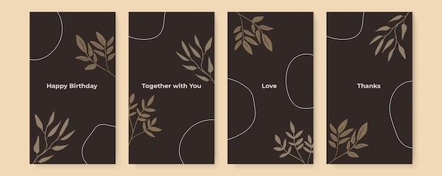 Abstracte tropische bladeren covers met gebladerte lijntekeningen bladeren en klodders decoratie