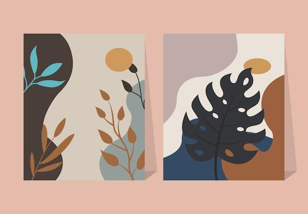 Abstracte tropische bladeren elementen bloem poster achtergrond
