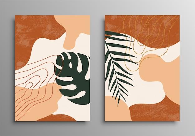 Abstracte tropische bladeren poster covers. abstracte achtergrond. tropische bloem mode patroon. palm, exotische bladeren. voorraad.