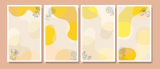 Abstracte tropische bladeren poster dekking achtergrond set abstracte achtergrond abstracte bladeren wallpaper