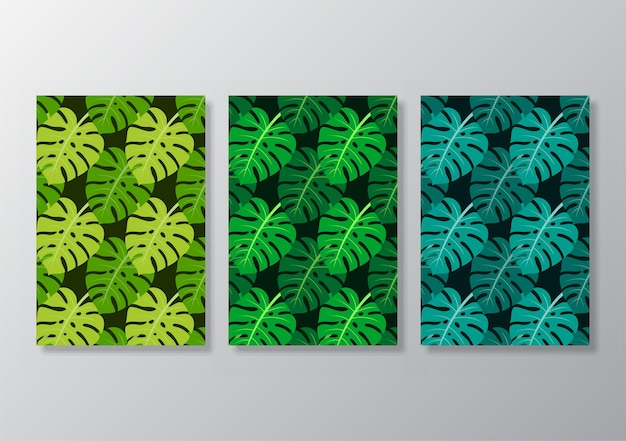 Abstracte tropische bladeren poster dekt achtergrond