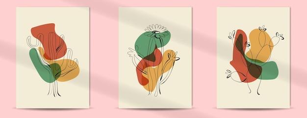 Abstracte tropische cactus lijntekeningen cover boho halverwege de eeuw