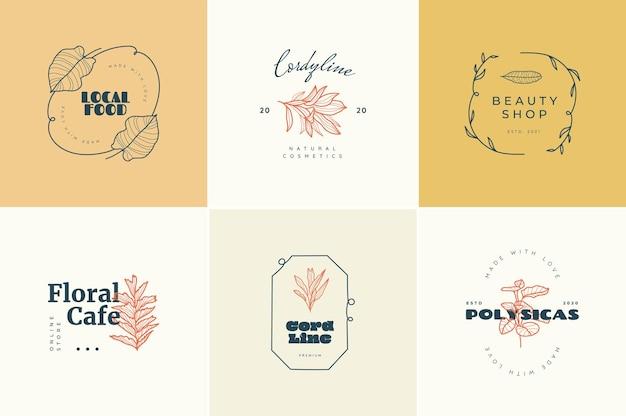 Abstracte tropische logo bloemen tekenen of logo sjablonen