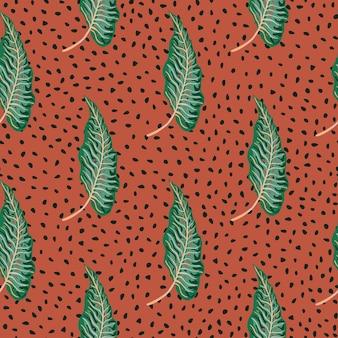 Abstracte tropische naadloze patroon met creatieve bladeren op stippen achtergrond.