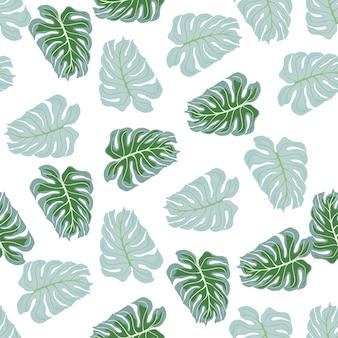 Abstracte tropische natuur naadloze patroon met groene en blauwe willekeurige monstera blad print. geïsoleerde kunstwerken. decoratieve achtergrond voor stofontwerp, textieldruk, inwikkeling, omslag. vector illustratie.