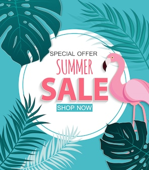 Abstracte tropische zomer verkoop achtergrond met flamingo en bladeren. illustratie
