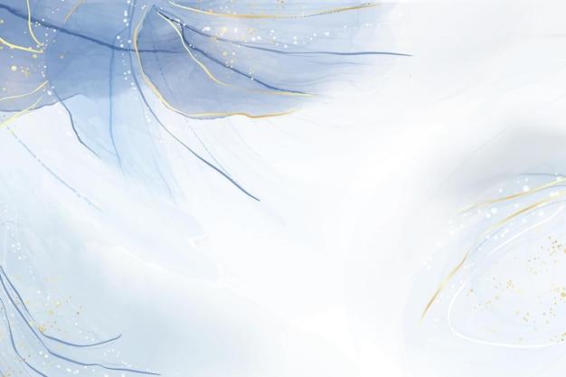 Abstracte turkoois en blauwgroen blauwe vloeibare gemarmerde aquarel achtergrond met golfpatroon en gouden scheuren. cyaan alcoholinkt gemarmerd tekeneffect. vector illustratie ontwerpsjabloon voor uitnodiging.